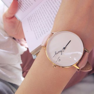 Customized Name Pointer Watch--36mm Roman Pink Powder Leather Watch