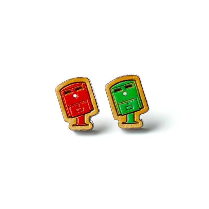 Painted wood earrings-Post Boxes