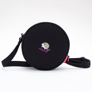 Steve Embroidery Canvas Round Tote Bag ( Black )