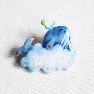 Whale with cloud pin