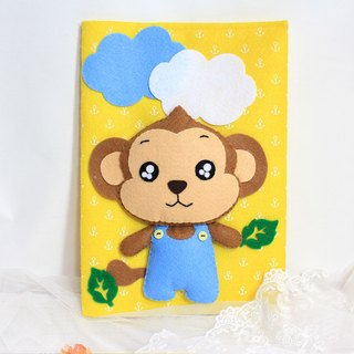Little Monkey music than the rabbit LoveRabbit- book jacket - boy + + pure handmade bright yellow - note book covers, gift, mom manual envelope