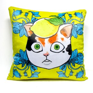 GOOKASO Fresh Yellow Lemon Cat Head Pillow CUSHION Pillow Pillow Kit Removable and washable