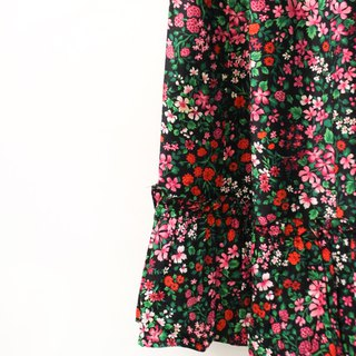 Retro European pastoral style black plum fruit floral cotton vintage dress European Vintage Skirt