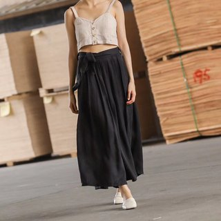 Lingbo Microstep Black Heavy Copper Amide Silk Pleated Wide Leg Skirt Minimalist Pleated Wide Trousers Walking Tornado