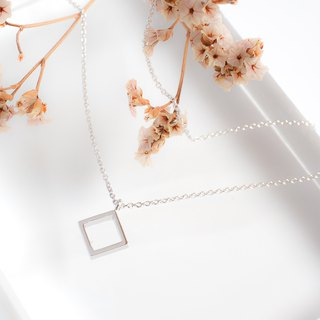 Minimal Square Charm Necklace