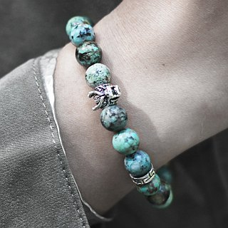 Longjue. Natural ore hand beads African turquoise phoenix stone solid sterling silver volcanic stone casting dragon head