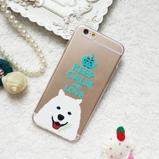 Keep calm love Samoyed Dog clear TPU Phone Case iphone 5 6 6s 7 8 plus x S8 note