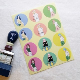 Sweet lemon girl with round stickers / 12 pieces