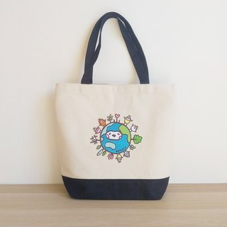 Earth Patchwork canvas bag