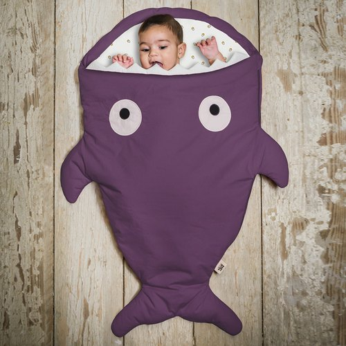 [Spanish] Shark bite a BabyBites cotton baby multi-function sleeping bag - Violet