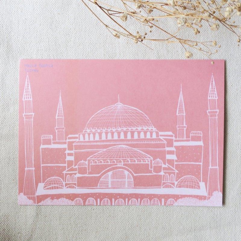 旅行風景-土耳其-伊斯坦堡聖索菲亞大教堂 / 插畫明信片