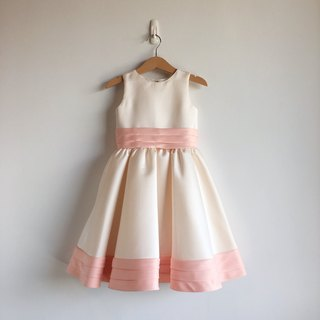 Baby Pink Satin Dress with Pleated Waist