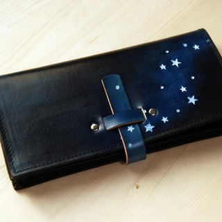 [Father's Day] [Leather Carving Hand Dye Series] [Planting Leather Long Clip] Inserting Star Star Blue Leather Long Clip