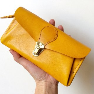 "Italian leather * long wallet ""series-envelope"" mimosa"