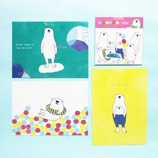 Polar bear / white monster / sticker postcard combination