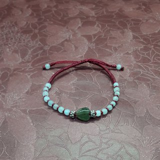 Heart to Heart - Natural Burmese Jade Silver Ornaments China Jade Line Handmade Design Bracelet