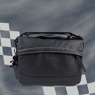 Free shipping I AM-mini messenger bag - black/black with leather