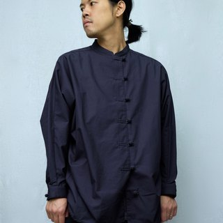 OMAKE buckle small stand collar shirt / black