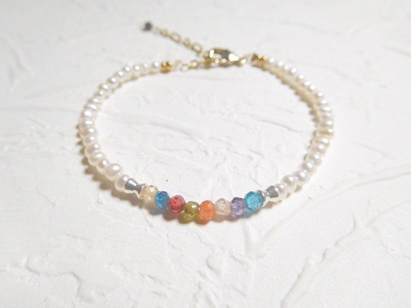新版珍珠彩色寶石手鍊