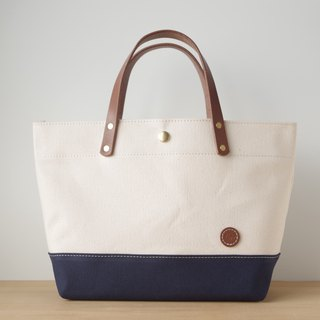 Leather handbag canvas tote back generation × navy