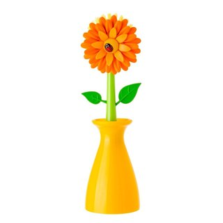 Vigar pot dish brush orange flower power