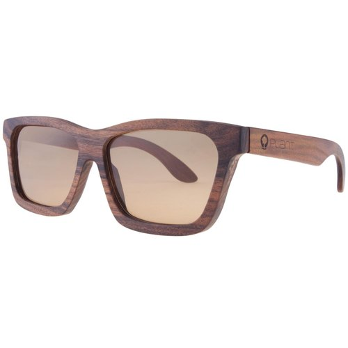 Plantwear European Handmade Solid Wood Sunglasses - Classic Collection - Rosewood Solid Wood Frame + Cold Rin Brown Lens