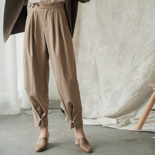 No tie | Light coffee color New Zealand design pleated two wearing trousers beam leg wide leg wide pants suit pants