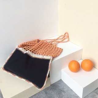Soft Orange-Black Gradie crochet bag