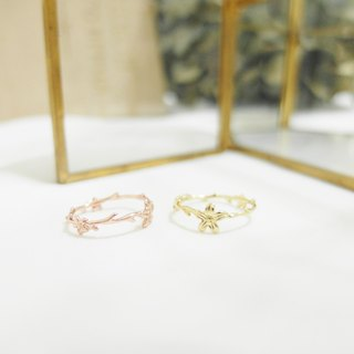 Small wreaths with branch rings - gold / rose gold