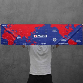 Make World map manufacturing sports towel (red and blue)