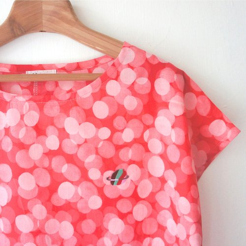Red Planet Bubble soft cotton / owl short-sleeved shirt
