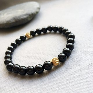 Natural stone bracelet - Darwin. Black (Ore / Black Agate / Brass / Male / Female / Personality)