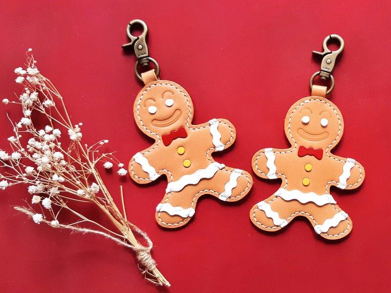 薑餅人 鎖匙扣 好好縫 皮革材料包 聖誕禮物 真皮 跨年 尾牙 包裝