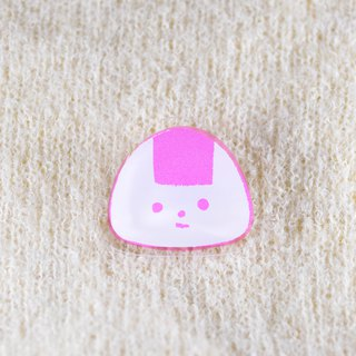 Rice ball brooch _ pink rice ball
