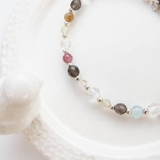 Big staff Taipa [natural stone] colorful tourmaline × sea blue treasure × tea crystal × white crystal sterling silver bracelet