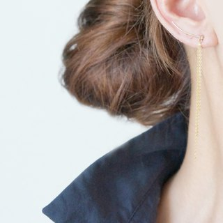 【Minimalism】14KGF Hammered Ear Climber-Long Fringe-