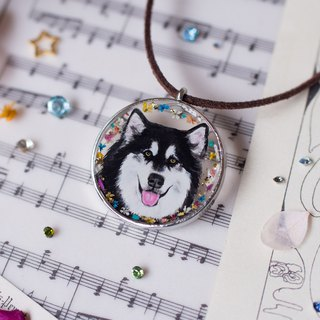 Hand-painted custom-made pet exclusive mini resin painting necklace