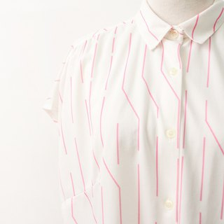 Retro Pink Geometric Stripe White Short Sleeve 90s Vintage Vintage European Blouse