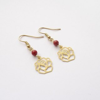 ::Le Rosy Swing:: Red Jasper Brass Rose Filigree Lightweight Drop Earrings