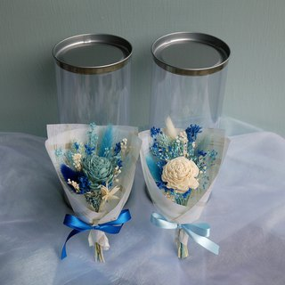 Sweet Time - Blue Sun Rose Blue and White Dry Flower Pot Gift Box Mini Hand Tied Small Bouquet