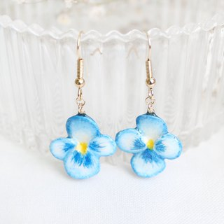 Handmade Heartsease earrings (Blue)