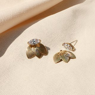 "Round Di ""memory agreement"" wheat ears horse eye zircon anti-allergy 925 silver needle earrings manual retro brass"