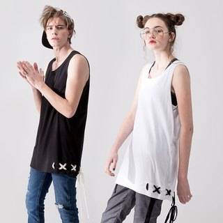 UNISEX LACE UP HEM TANK TOP / White+Black