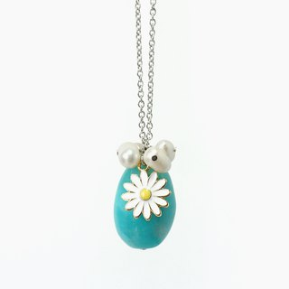 Amazonite + Pearl + Sunflower Charm Necklace