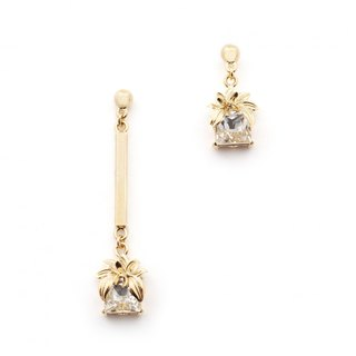 Albizia Flower Crystal Asymmetric Earrings