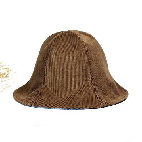 Calf Village Calf Village handmade double-sided hat neutral simple plain warm color {hand-held corduroy} dark coffee [H-440] winter limited