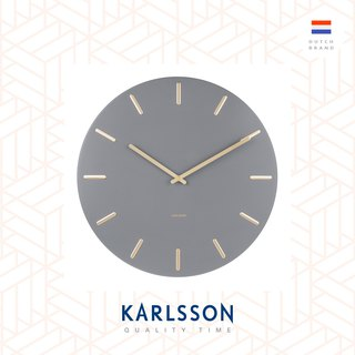 (預售)Karlsson Wall clock Charm steel grey with gold battons