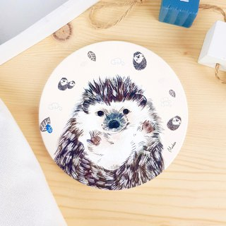 Small hedgehog - round ceramic absorbent coasters / animal Shiba Inu. Christmas gifts