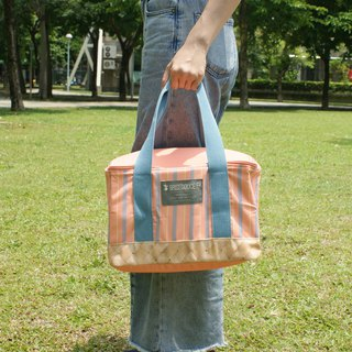 [DESTINO STYLE] Japan B / D straight striped folding picnic bag company goods insulation ice protection