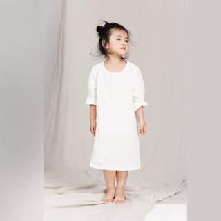 BUFUKIDS soft linen loose cutting dress in white for little girl TD161102